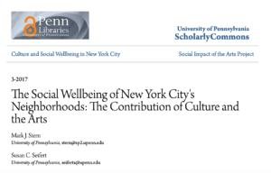 The Social Wellbeing of New York City'sNeighborhoods: The Contribution of Culture and the Arts
