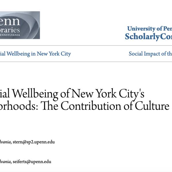 La contribución de las artes y la cultura al bienestar social de los barrios de la ciudad de Nueva York